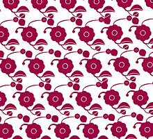 Flowers on snow (retro pattern)  by CatchyLittleArt
