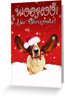 Basset Hound WhooHoo I'ts Christmas Greeting Card  by Moonlake