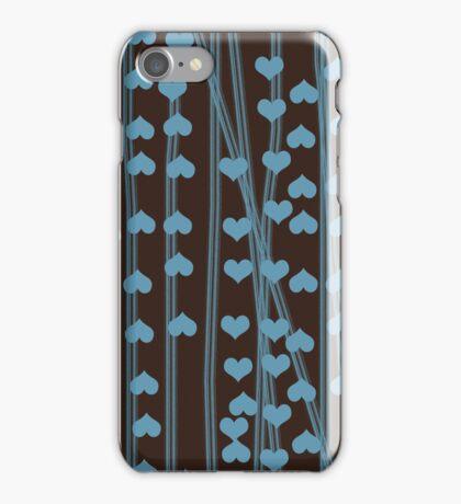 Blue hearts retro design iPhone Case/Skin