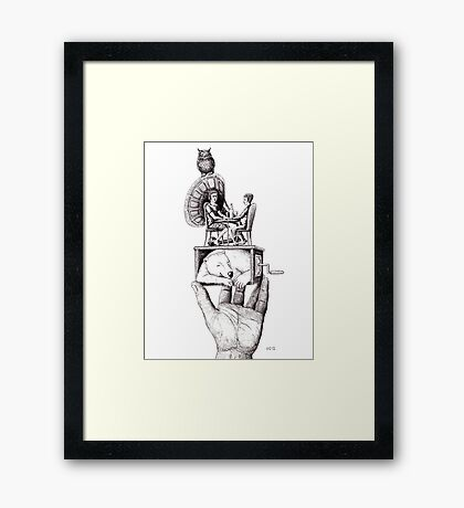 Balance of Love surreal pen ink black and white drawing Framed Print