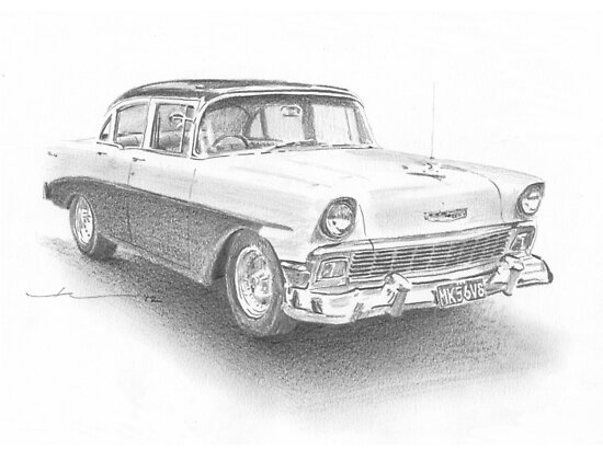 Classic Chevy drawing by Mike Theuer