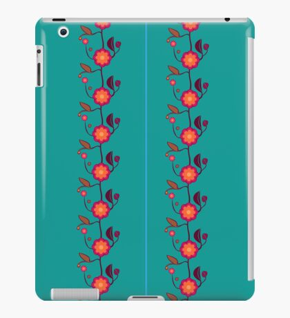 Emerald green with orange flowers iPad Case/Skin