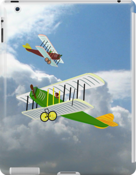 Biplanes in Aerial Games iPad case design by Dennis Melling