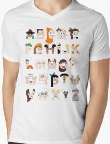 P&F Alphabet Mens V-Neck T-Shirt
