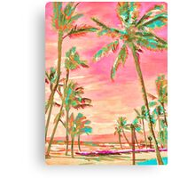 Vintage Hawaiian Beach Scene, Pink Canvas Print
