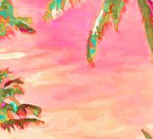 Vintage Hawaiian Beach Scene, Pink Sticker