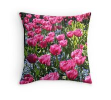 Pretty Pink Tulips Throw Pillow