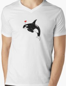Cute Killer Whale Mens V-Neck T-Shirt