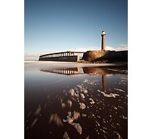 Whitby - Lighthouses and Pier Photographic Print