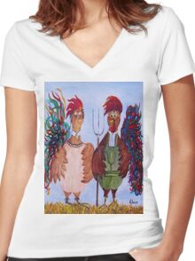 American Gothic - Down on the Farm Women's Fitted V-Neck T-Shirt