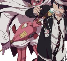 blue exorcist rin and majestic anime design Sticker