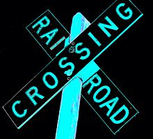 Blue Neon Railroad Crossing Sign by jerry2011