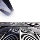 New World Trade Center building in fog by Daniel Sorine