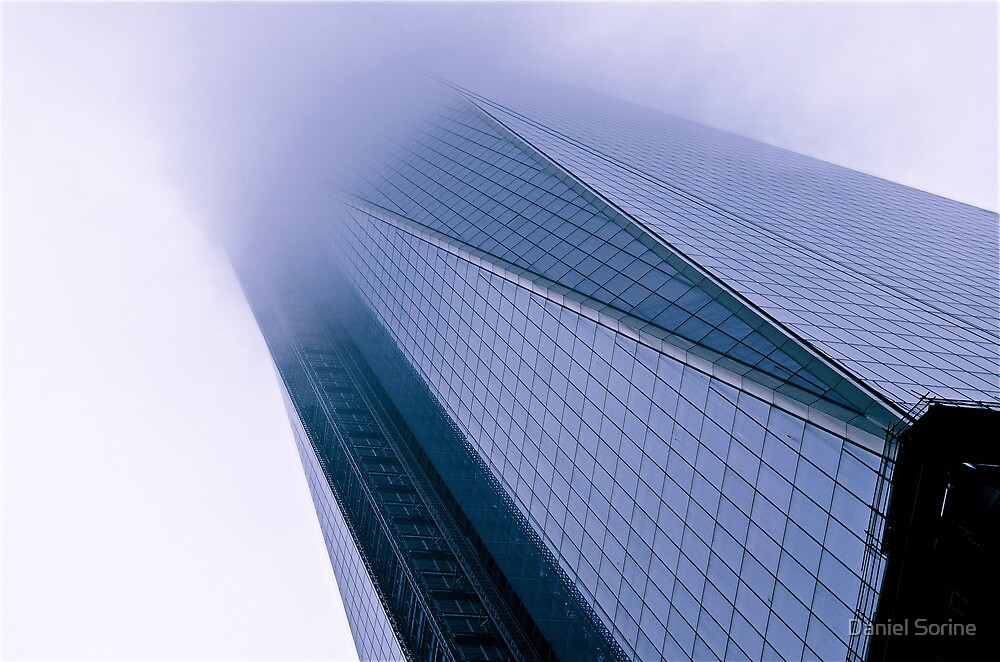 New World Trade Center building in fog by Daniel Sorine