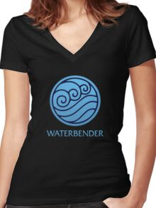 Waterbender (with text) Women's Fitted V-Neck T-Shirt