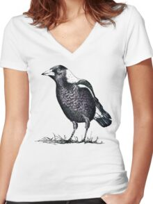 Magpie - Dedicated to family Women's Fitted V-Neck T-Shirt