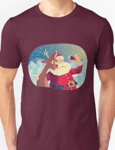 Santa Claus and his Reindeer Taking a Photo Together T-Shirt