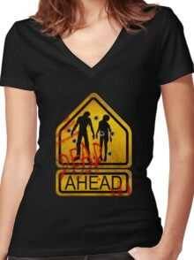 "Caution ""Dead Ahead"" Women's Fitted V-Neck T-Shirt"