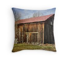 The old wooden barn Throw Pillow