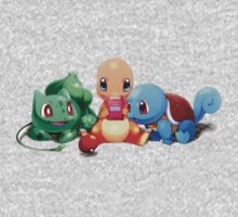 Charmander, Bulbasaur, and Squirtle playing Gameboy Kids Clothes
