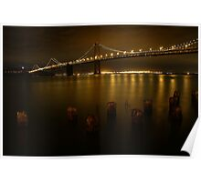 San Francisco Bay Bridge on a Golden Night  Poster