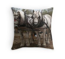 Draft Horses Throw Pillow