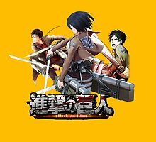 attack on titan, mikasa eren and levi anime design by tylerlions777