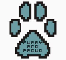 Furry and proud 8-bit Shirts and hoodies blue version by Damfurrywolf