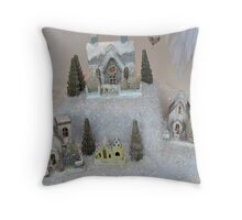 A Christmas Village In The Snow Throw Pillow