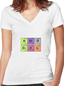 NERD GIRL - Periodic Elements Scramble! Women's Fitted V-Neck T-Shirt