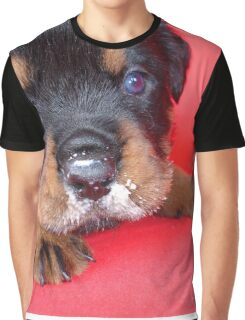 Comical Rottweiler Puppy With Food On Snout Graphic T-Shirt