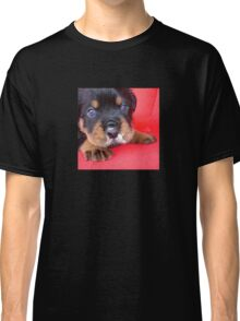 Comical Rottweiler Puppy With Food On Snout Classic T-Shirt