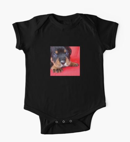Comical Rottweiler Puppy With Food On Snout One Piece - Short Sleeve