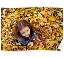 Playing With Autumn Leaves Poster