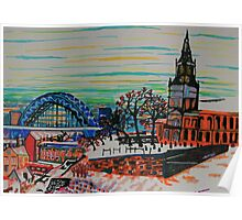 St Mary's and the Tyne Bridge in winter Poster