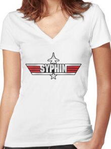 Custom Top Gun Style - Syphin Women's Fitted V-Neck T-Shirt