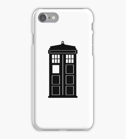 TARDIS (black and white) iPhone Case/Skin