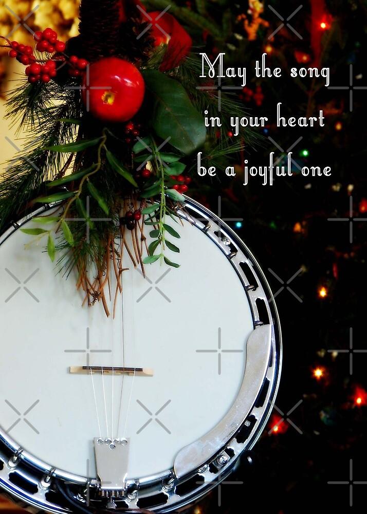 Joyful Song Banjo Christmas Greeting Card by NestToNest