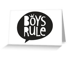 POP TYPE TYPOGRAPHY Boys Rule Black & white Greeting Card
