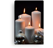 White candles with silver Christmas balls Canvas Print