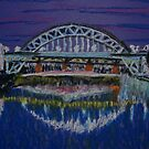 Tyne Bridges at night by George Hunter