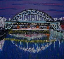 Tyne Bridges at night by George Hunter