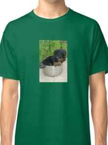 Puppy Rottweiler Curled Up In Food Bowl Classic T-Shirt