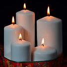 White candles with red ribbon and stars by 7horses