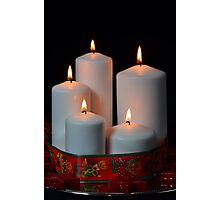 White candles with red ribbon and stars Photographic Print