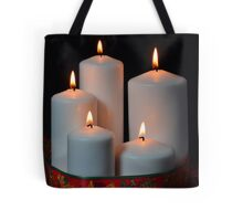 White candles with red ribbon and stars Tote Bag