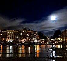 Amstel River Amsterdam moonstruck by Alessiocorner
