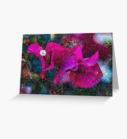 Magenta Floral Machine Dreams Greeting Card