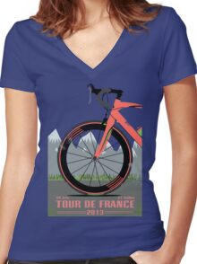 Tour De France Bike Women's Fitted V-Neck T-Shirt