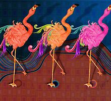 Chorus line Flamingoes by Alma Lee